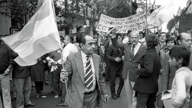 Argentine citizens rally in April 1982 at May Square in Buenos Aires, demonstrating support for their government's recent invasion of the British-held Falkland Islands. (Panta Astiazaran, AFP, Getty Images)