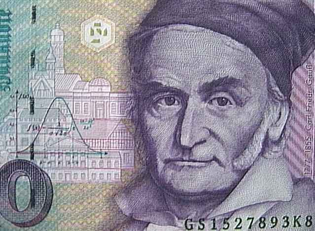 Carl Friedrich Gauss, who discovered the normal distribution, honored on the 10-Deutsche Mark.