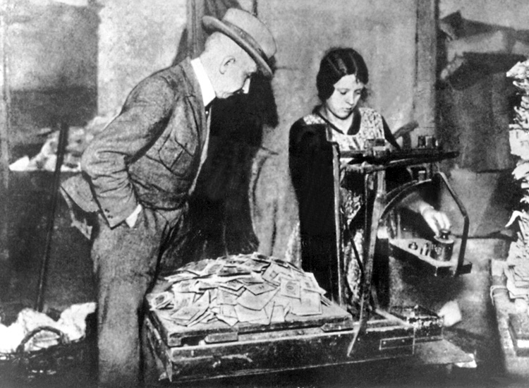 Hyperinflation was so severe in 1923 Germany that it became more convenient for Germans to count the value of marks by weighing them.
