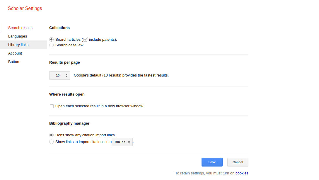 Google Scholar's settings