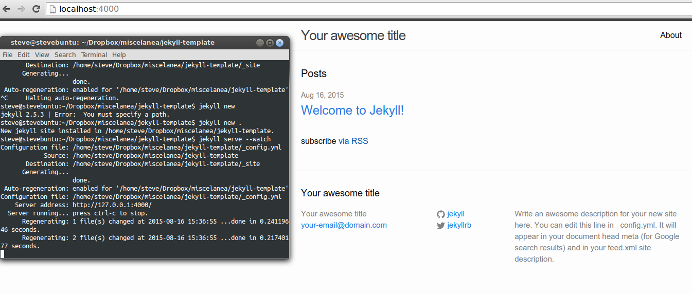 A default Jekyll site (with accompanying terminal commands).