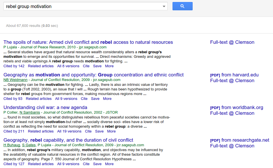 A Sample of Output from a Google Scholar Search