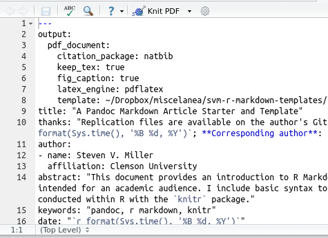 An R Markdown Template for Academic Manuscripts | Steven V