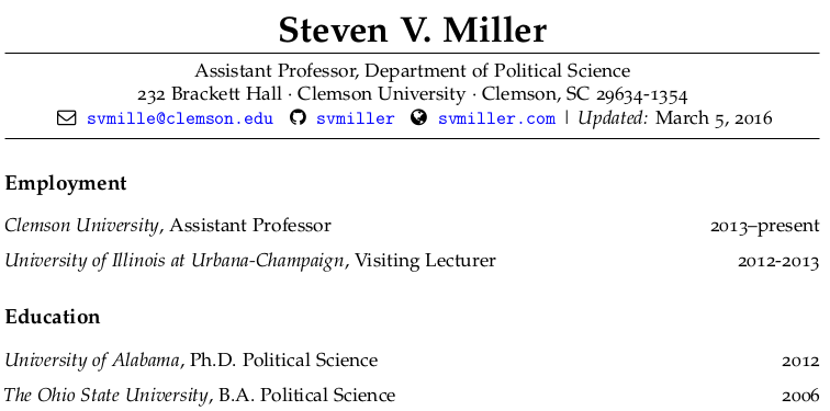 Make your academic cv look pretty in r markdown steven v miller what my cv looks like with this template yelopaper