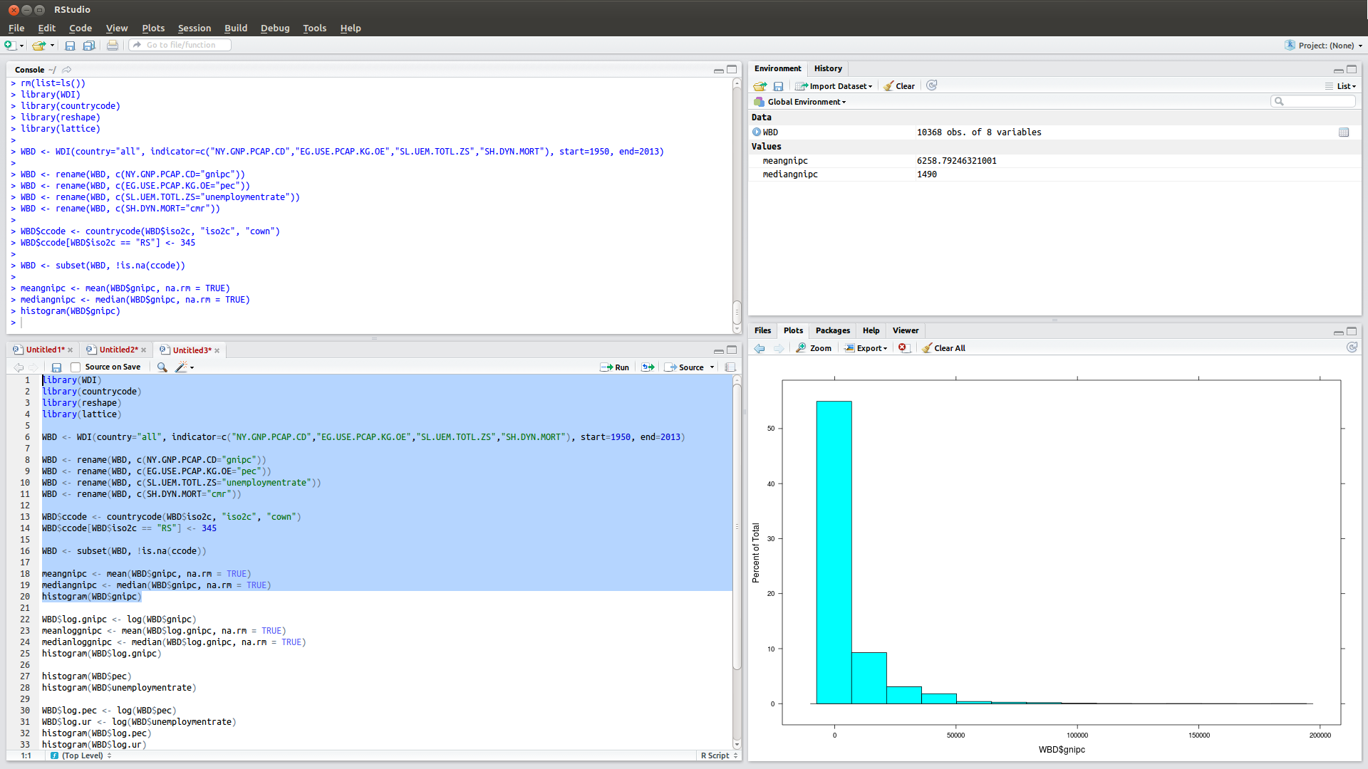 Rstudio interface (click to embiggen)