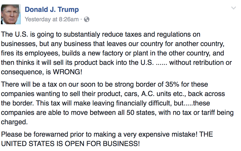 Donald Trump rant about outsourcing.